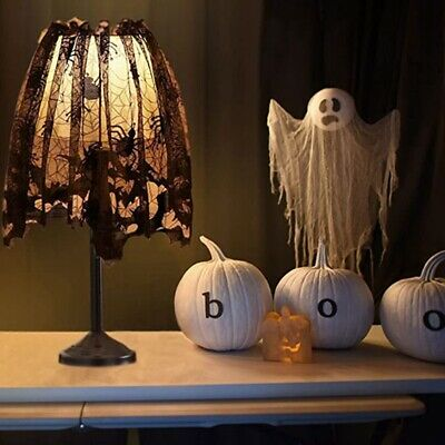 $ CDN15.36 • Buy 3Pcs Halloween Lamp Shade Cover Decoration, Black Lace Ribbon Spider Web LamS8L2
