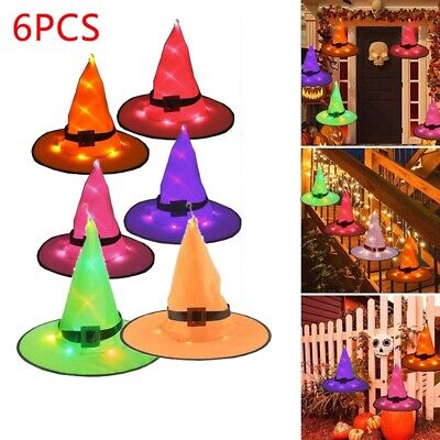 $ CDN17.75 • Buy Halloween Decorations Witch Hat Outdoor 6Pcs Hanging Lighted Glowing Witch HJ2Y3
