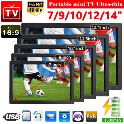 £66.49 • Buy 14  Ultra-thin Portable 1080P HD Digital TV Freeview Television Player DVB-T-T2