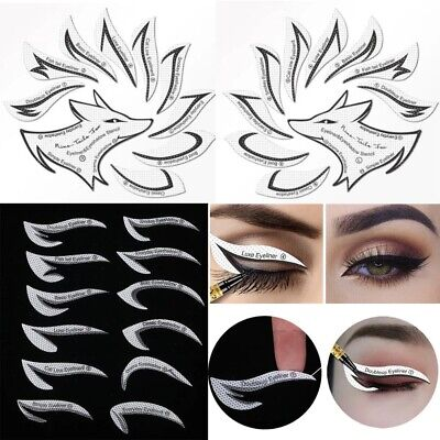 £3.99 • Buy 24PC Card Draw Eye Template Quick Tool Eyeliner Eyeshadow Stencil Stickers Mould