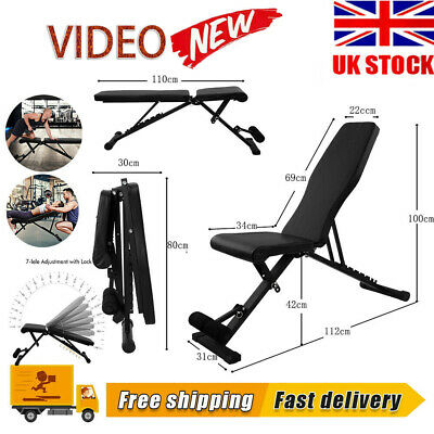 £48.90 • Buy Adjustable Foldable Dumbbell Bench Weight Training Fitness Flat Incline Sit Up