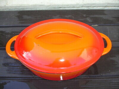 £9.99 • Buy Le Creuset Style Red Orange Cast Iron Casserole Dish Pot With Lid Oval 30cm Used