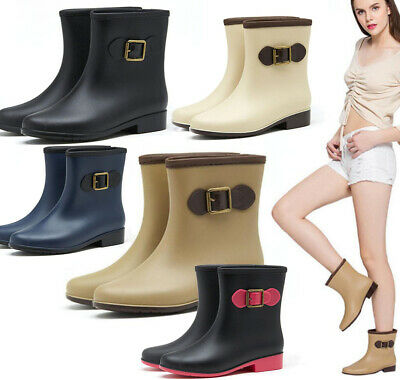£11.99 • Buy Womens Buckle Bow Low Heel Ankle Mid Calf Wellies Boots Rubber Rain Shoes ST003