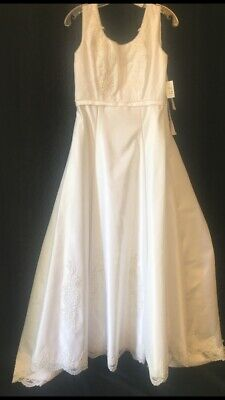 $ CDN47.19 • Buy Sleeveless Ivory Wedding Gown Appliques Pearl Trim Size 12