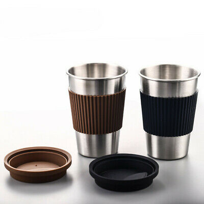 £10.73 • Buy Stainless Steel Stackable Cup Beer Coffee Drinking Cup + Silicone Lid 350ML 12oz