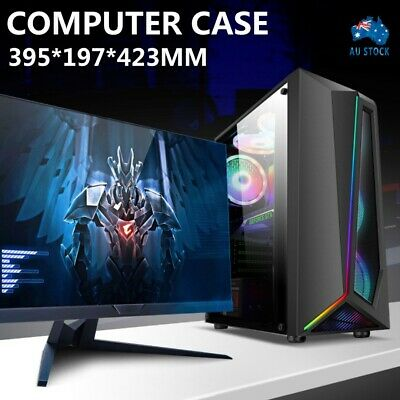 AU52.99 • Buy Computer Case PC Gaming Tempered Glass RGB Strip ATX Tower Desktop Without Fan