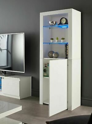£128.99 • Buy Tall White Gloss Display Glass Cabinet Shelving Bookcase Door Unit Blue LED Lily