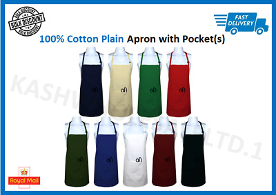£2.49 • Buy New Men Women Apron Poly Cotton Kitchen Cooking Chef Baking Apron With Pockets