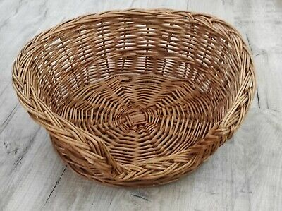 £22.99 • Buy VINTAGE Wicker Pet Bed Basket Round  Strong 47 Cm X 47 Cm Cat Or Dog