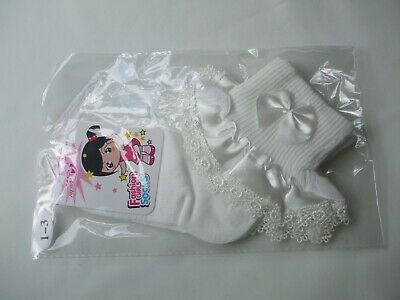 £3.75 • Buy Girls Bridesmaid Holy Communion Frill With Bow Ankle Socks White 1-3 New