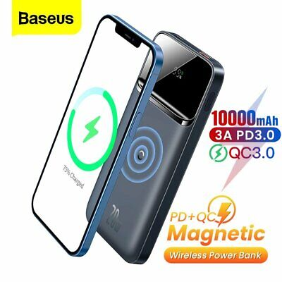 AU45.99 • Buy Baseus Power Bank PD 20W 10000mAh Magnetic Wireless Charger Battery For IPhone12