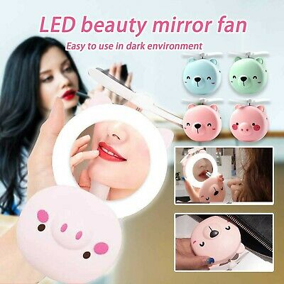 AU13.54 • Buy USB Rechargeable Fan With Makeup Mirror LED Light Mini Handheld Small Fan New !!