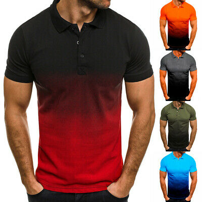 £12.39 • Buy Mens Polo Shirts Contrast Short Sleeve Tunic Breathable Sports Gradient Tops Tee