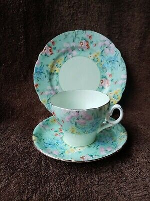 £65 • Buy Shelley Gilded Cambridge Half Melody Chintz Cup Saucer Plate Trio C.1940-1966