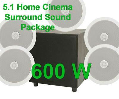 £221.99 • Buy 5.1 Surround Sound Home Cinema Ceiling Speakers + Active Sub Bass Hifi Package B