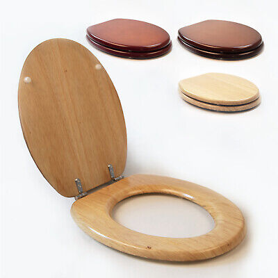 £19.99 • Buy Wooden Toilet Seat Wood Standard Size Heavy Duty Chrome Hinges Fixings Included