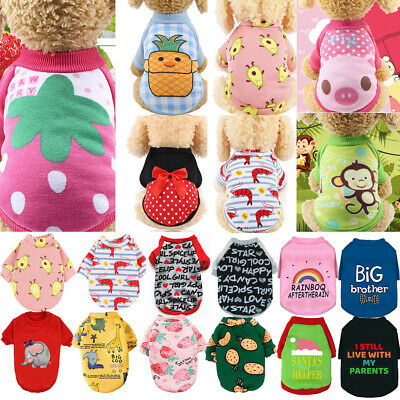 £4.08 • Buy Pet Dog Clothes For Small Dogs Print Coat Sweater Puppy Chihuahua Winter Outfits