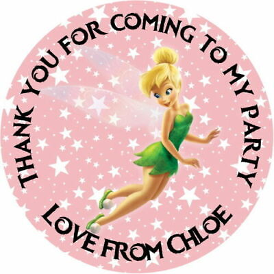 £2.40 • Buy Personalised Gloss Tinkerbell Pink Birthday  Party Stickers Sweet Cone Labels