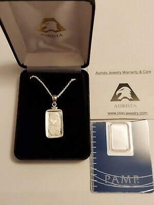 £107.88 • Buy 5 Gram SILVER PAMP - SUISSE FORTUNA NECKLACE WITH ASSAY AURISTA JEWELRY