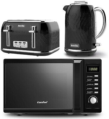 £199.99 • Buy Stylish Black Kitchen Set Microwave COMFEE' With Kettle & Toaster Breville NEW