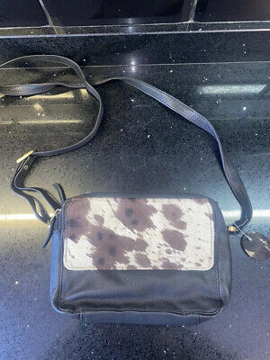 £14 • Buy Black Real Leather Bag With Cow Hair Print