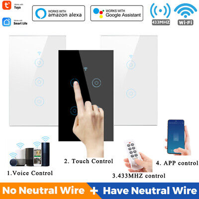 AU30.24 • Buy AU 1/2/3/4Gang Smart WiFi Light Touch Panel Switch Switch For Alexa Google Home