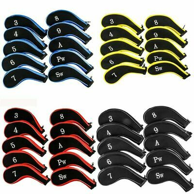 AU19.80 • Buy 10X Iron Club Protector Golf Head Covers With 3-9 P/A/S/Lw Number Tag Neoprene