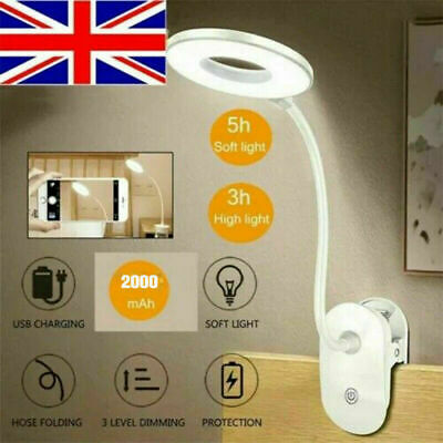 £5.49 • Buy LED USB Clip On Flexible Desk Lamp Dimmable Memory Bed Reading Table Study Light