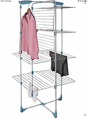 £25 • Buy Minky Tower 4 Tier Indoor Foldable Clothes Airer- Holds 4 Wash Loads-With Wheels