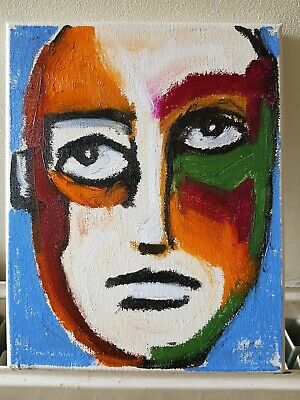 £24.95 • Buy Small Oil Painting Modern Art Canvas Expressive Male Face Portrait Person ALLEN