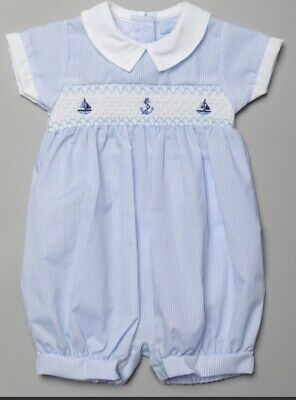 £11.99 • Buy Baby Boys Smocked & Embroidery Romper