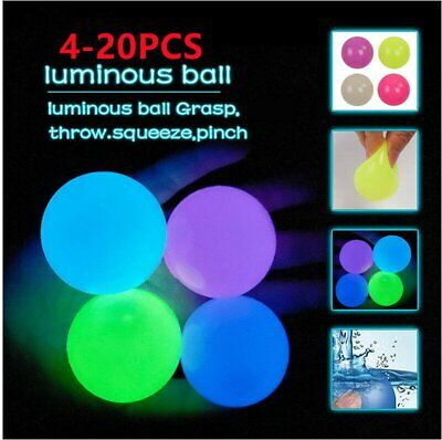 AU13.97 • Buy 4-20PCS Luminous Sticky Wall Balls For Ceiling Stres Relief Globbles Squishy Toy