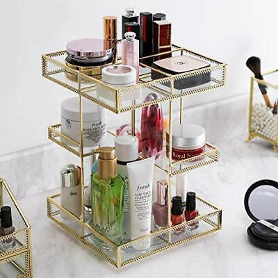 £58.54 • Buy 360 Degree Rotation Glass Makeup Organizer,Perfume Display Case And Gold
