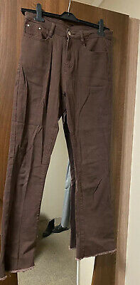 £12 • Buy Brown Slim Fit Mid-Rise Button Up Flare Jeans
