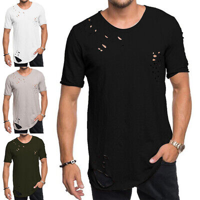 £9.89 • Buy Mens Crew Neck Short Sleeve Ripped T-shirt Casual Fashion Slim Fit Tee Top Tunic
