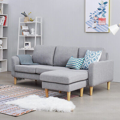 £299.99 • Buy 2 3 Seater Fabric Corner Sofa With Footstool Living Room Armchair Settee Couch