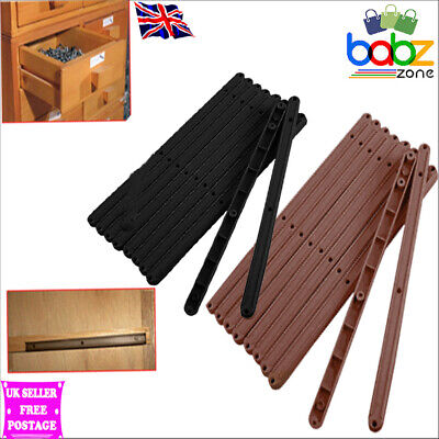 £5.49 • Buy Pairs Draw Drawer Runners Kitchen Bedroom Cabinet Plastic Guide Rail Rails Brown