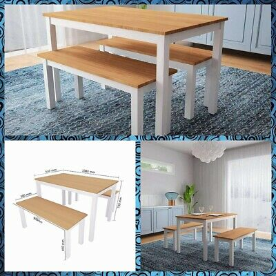 £78.90 • Buy Dining Table Set With 1 Bench 1 Chair Seat Home Furniture Natural Pine Wooden UK