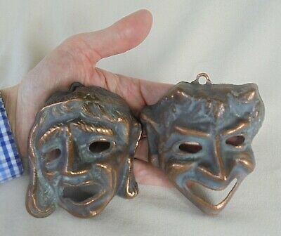 £19.99 • Buy Vintage Copper  Wall Face Masks ~  Tragedy / Comedy / Drama- Unusual Display !