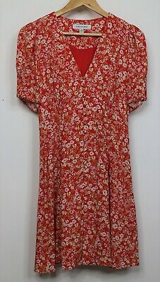 AU39 • Buy Forever New Womens Dress Size 8 Red Floral V-Neck Shirred Back Section Lined