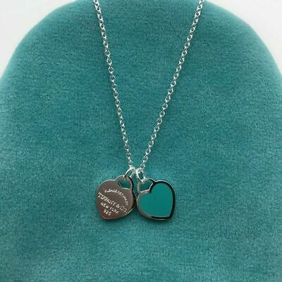 £35 • Buy Tiffany  Silver  Double Mini Blue Heart Necklace Love Necklace Fashion Necklace