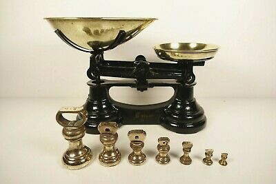 £39.99 • Buy Vintage Librasco Cast Iron Kitchen Scales Brass Pan + 7 Bell Weights
