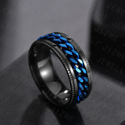 $4.99 • Buy Men's Anxiety Spinner Stainless Steel Ring Curb Chain Wedding Band Comfort Fit