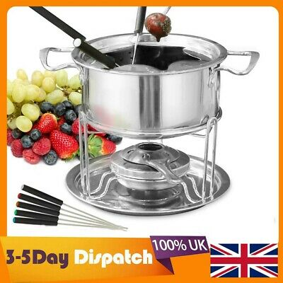£7.99 • Buy Stainless Steel Cheese Chocolate Fondue Set Melting Pot With Forks Burner UK New