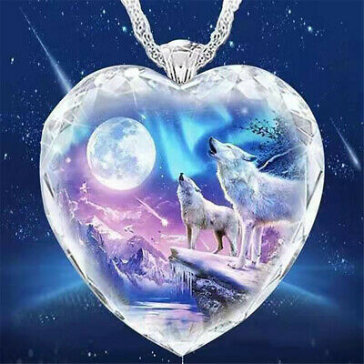 £4.14 • Buy 925 Silver Women Animal Wolf Heart Necklace Natural Crystal Jewellery Pendant .