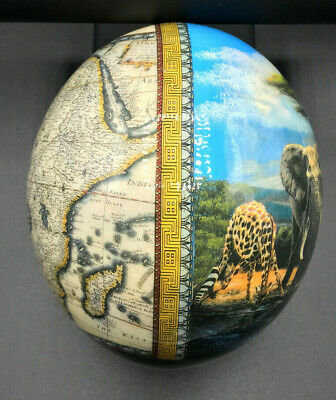 £12 • Buy Decorative Artificial Ostrich Egg - African Map And Wildlife Print (RMA157G)