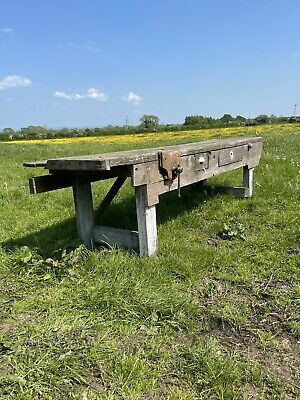 £249 • Buy Large Vintage Antique Wood Work Bench Carpenters Bench With Vice Industrial