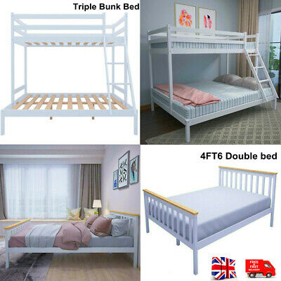 £198.80 • Buy Double Bed Bunk Beds Triple Pine Wood Kids White Children Bed Frame With Stairs