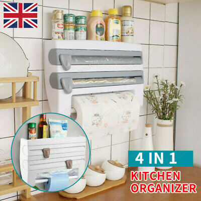 £8.99 • Buy 4in1 Kitchen Roll Dispenser Cling Film Tin Foil Wall Mounted Towel Holder Rack