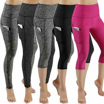 £8.57 • Buy Womens 3/4 Capri Yoga Pants Gym Fitness Stretch Cropped Leggings With Pockets P1